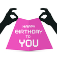 Hands Silhouette holding Pink Paper with Happy vector image