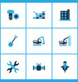 industrial icons colored set with shovel vector image vector image