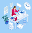 isometric overtime working concept planning time vector image vector image