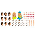 isometry stewardess girl set emotions creation vector image vector image