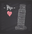 leaning tower pisa hand drawn sketch with vector image vector image