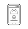 mobile phone padlock access data safety system vector image vector image