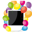Photo frame with balloons vector image vector image