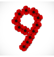 poppies number nine vector image vector image