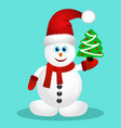 postcard with happy snowman vector image