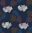 Seamless daisy pattern in blue vector image vector image