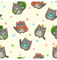 Seamless pattern with cute cartoon grey cats vector image
