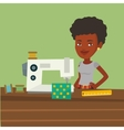 Seamstress using sewing machine at workshop vector image vector image