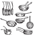 set frying pans vector image vector image