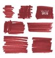 Set of hand drawn red paint stains vector image