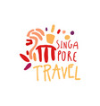 travel to singapore marina bay sands logo design vector image vector image