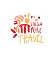 travel to singapore marina bay sands logo design vector image