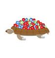 turtle gemstones treasure on shell rich marine vector image vector image