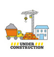 under construction house crane tipper truck and vector image
