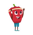 vegetable character cartoon red pepper exercising vector image
