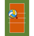 Volleyball field and ball Game ball high above vector image vector image