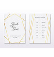 wedding invitation cards with gold design save vector image