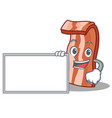 with board bacon character cartoon style vector image vector image