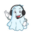with headphone cute ghost character cartoon vector image vector image