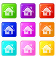 wooden house covered with snow icons 9 set vector image vector image