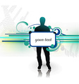 young man with blank board vector image vector image