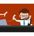 Lucky businessman is speaking via three phones vector image