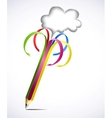 Colorful pencil with blank bubbles vector image