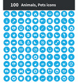 100 animals pets icons vector image vector image