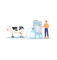 a farmer milking cow vector image