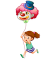 A young girl running with a clown balloon vector image vector image