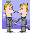 angel and devil businessmen cartoon vector image