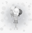black-and-white poster - humanoid waffle ice vector image vector image