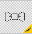 black line bow tie icon isolated on transparent vector image vector image
