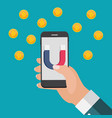 business concept of hand hold mobile phone with vector image vector image