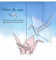 Card template with origami cranes vector image