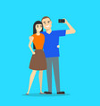 cartoon couple takes selfie concept on a blue vector image