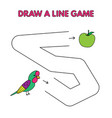 cartoon parrot draw a line game for kids vector image