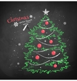 Christmas tree on black chalkboard background vector image vector image