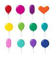 color rubber flying cartoon balloons with string vector image
