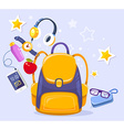 colorful of yellow backpack phone with head vector image vector image