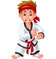 cool karate boy in white uniform cartoon vector image vector image