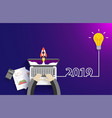creative light bulb idea 2019 new year startup vector image vector image