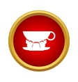 Cup of coffee and croissant icon simple style vector image
