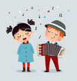 cute boy playing accordion and little girl singing vector image vector image