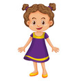 cute girl in purple dress vector image vector image