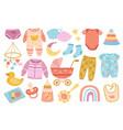 cute nursery elements scandinavian baby shower vector image vector image