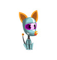 cute robot dog sitting on the floor artificial vector image vector image