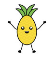 delicious pineapple fruit kawaii character vector image vector image