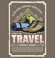 expedition and travel tent boots sporting mat vector image