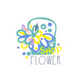flower shop logo template element for floral vector image vector image